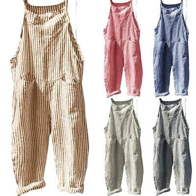 AU29.06 • Buy Women Ladies Casual Baggy Loose Striped Playsuit Overalls Dungarees Jumpsuit NEW