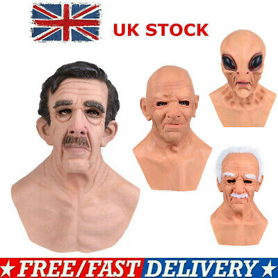 Old Man Mask Silicone Headgear Halloween Props  Full Head Realistic Masquerade • 15.16£