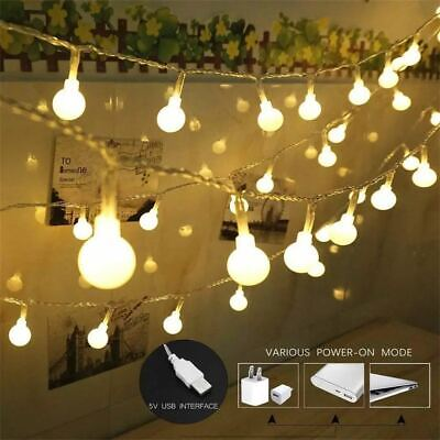 USB/Battery LED Globe Bulb Ball Fairy String Lights Garden Outdoor Waterproof UK • 6.96£