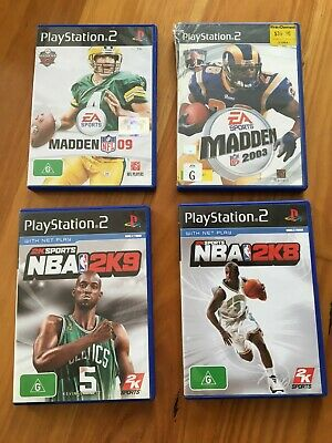 AU12 • Buy 4 X PS2 Games NBA 2K8 2K9 NFL Madden 03 09 EA Sports With Manuals Playstation 2