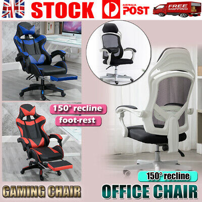 AU119.99 • Buy Gaming Office Chair Racing Executive Computer Seat PU Leather Backrest Footrest