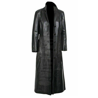 Mens Black Leather Trench Steampunk Matrix Terminator Winter Long Coat Jacket • 124.45£