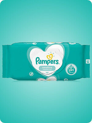 6X Pampers Sensitive Baby Wipes 52 (Total 312 Wipes) • 10.99£