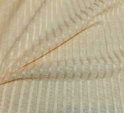 £3.99 • Buy  Knit Jersey Fabric Shiny Striped Cream Colour- Sold By The Metre