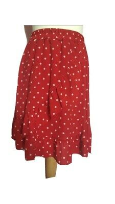 Boohoo Red Polka Dot Skirt Frilly Tiered Size 12-14 • 3.99£