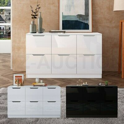 AU209.95 • Buy New 6 Chest Of Drawers Tallboy Dresser Table Storage Bedroom High Gloss Cabinet