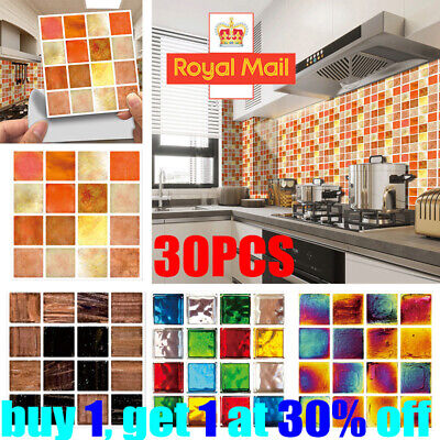 Mosaic Tile Stickers Stick On Bathroom Kitchen Home Wall Decals Self-adhesive Y • 4.89£