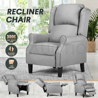 AU259.95 • Buy Luxury Recliner Chair Armchair Single Sofa Padded Fabric Couch Lounge Chair Grey