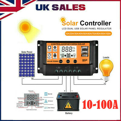 30-100A LCD MPPT/PWM Solar Panel Battery Dual USB Regulator Charge Controller UK • 12.49£