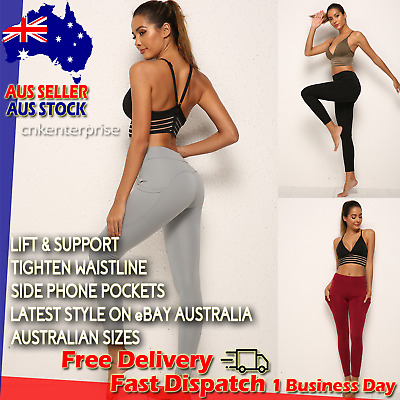 AU17.95 • Buy Womens Yoga Pants With POCKETS High Waist Workout Leggings Slimming Gym Everyday