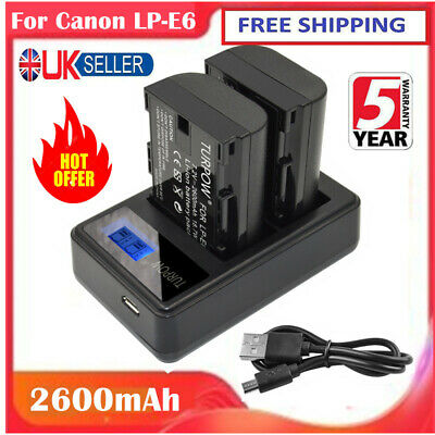 2X 2600mAh LP-E6 Rechargeable Battery + Dual Charger For Canon EOS 70D Mark II • 17.49£