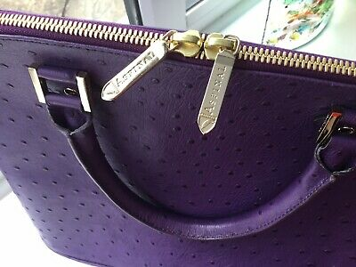 Aspinal Of London Purple Hepburn Ostrich Bag • 140£