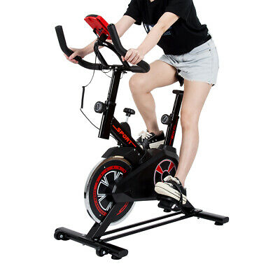 Black Spinning Exercise Bike Indoor Home Fitness Cardio Training Upright Bicycle • 108.90£