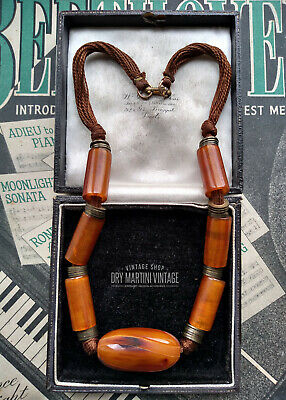Vintage Art Deco Carved Butterscotch Amber Bakelite Swirl Beads Necklace Tested • 220£