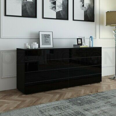 AU259.95 • Buy High Gloss 8 Chest Of Drawers Tallboy Dresser Table Storage Bedroom Cabinet BK