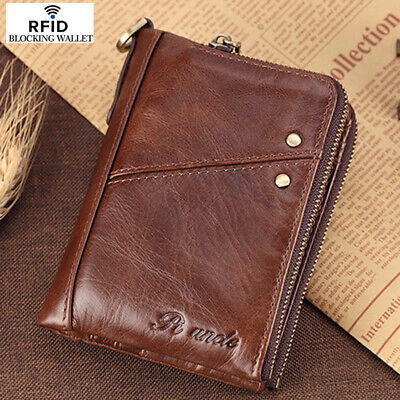AU28.99 • Buy Men's 100% Cowhide Leather Zipper Wallet RFID Blocking Card Holder Coin Purse