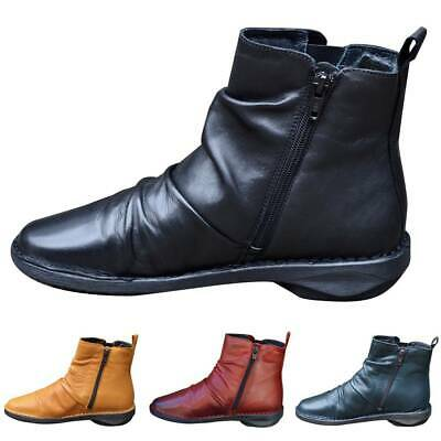 Womens Retro Ankle Boots Arch Support Side Zip Ladies Combat Biker Booties Shoes • 17£