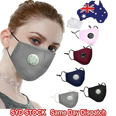 AU7.95 • Buy Washable Face Mask Anti Pollution Cotton Masks Reusable Respirator PM 2.5 Filter
