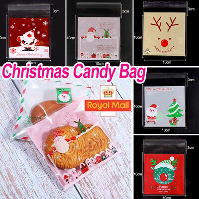 £2.29 • Buy 100 Christmas Cellophane Treat Bags Sweet Biscuit Cookie Cello Party Favour UK