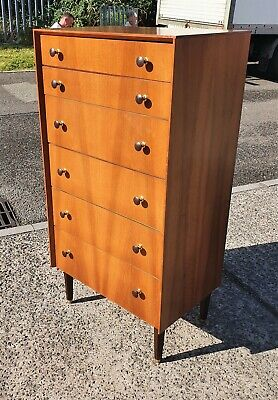 Vintage G Plan E Gomme Walnut Veneer 6 Drawer Chest     Delivery Available • 225£