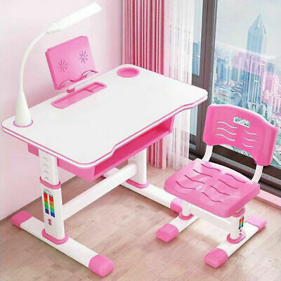 Height Adjustable Kids Child Study Desk Table Chair Set Bookstand Free LED Light • 82.99£
