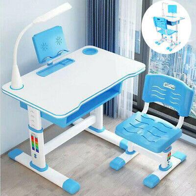 Blue Height Adjustable Children Kids Study Table Desk Chair Set With LED Lamp • 82.99£