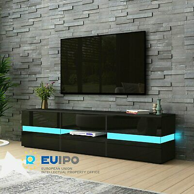 £129.99 • Buy Large TV Unit Stand Cabinet Storage Sideboard High Gloss Doors With LED Lights