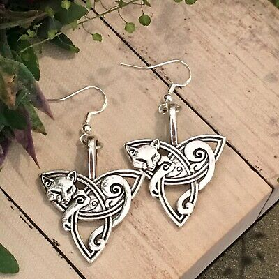 Celtic Triskelle Fox Earrings Wiccan Pagan Witch Vintage Boho 925 Silver Gift • 7.99£