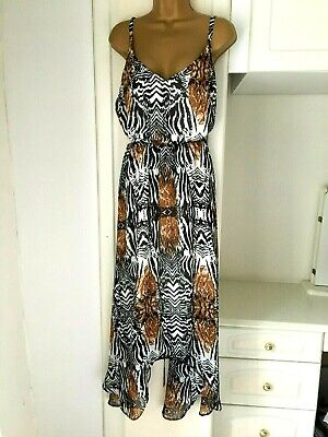 M&CO Size Uk 20 Lined Chiffon Animal Print High Low Dress In Vg Con Bust 46   • 16.99£