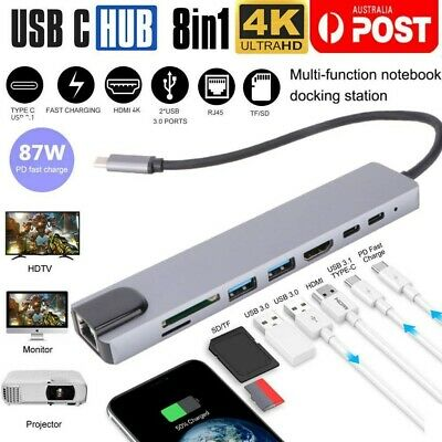 AU38.99 • Buy 8in1 USB-C 3.1 To Type-C USB 3.0 Hub HDMI RJ45 Ethernet Micro SD TF OTG Adapter