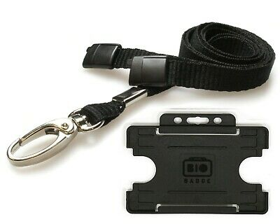 Black Lanyard ID Card Holder Neck Strap With Breakaway And Metal Clip Free P&P • 2.09£
