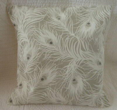 £7.25 • Buy Grey Cushion Cover Peacock Feather Cotton Neutral Print Handmade 16 Inch 40cm