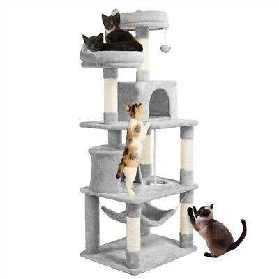 £51.99 • Buy 158cm Tall Cat Tree Tower With 6 Scratching Posts/2 Condos/Perches/Toys/Hammock
