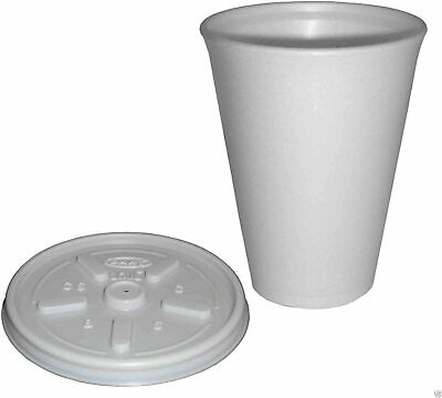 Pack Of 100 White Polystyrene 16 Oz Insulated Foam Tea Coffee Cups With Lids • 30£