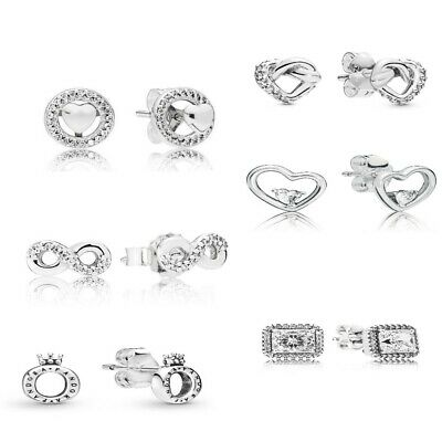 AUTHENTIC-GENUINE S925 ALE PANDORA Silver Stud Earrings • 16.99£