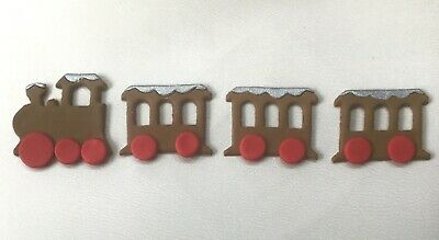 Edible Sugar  Icing Ginger Bread Train Snow Glitter Top CHRISTMAS Cake Topper  • 3.95£