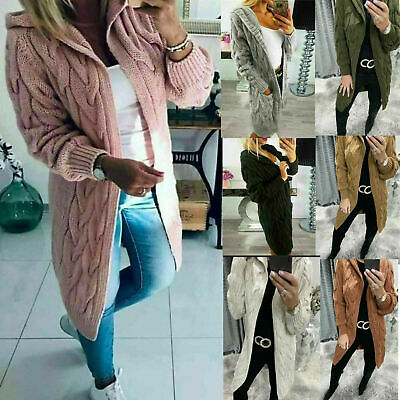 Womens Chunky Cable Knitted Oversized Longline Hooded Cape Ladies Warm Cardigan • 17.99£