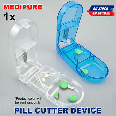 AU11.98 • Buy Pill Tablet Vitamin Cutter Splitter Divider Portable Medicine Travel Storage Box