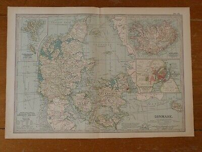 Antique Map Of DENMARK & ICELAND 1903 Copenhagen Faroe Islands • 7.99£