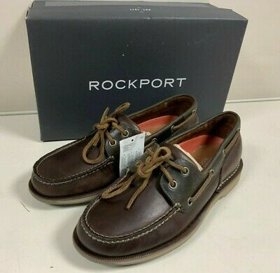 Genuine Rockport Perth Mens UK 7 Leather Loafers Boat Shoes Brown • 69.99£
