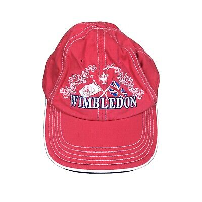 WIMBLEDON TENNIS CLUB Strapback Hat Relaxed Flags Dad Cap Red White Embroidered • 14.56£