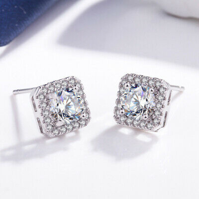 Crystal Square Stone Stud Earrings 925 Sterling Silver Womens Jewellery Gift  • 2.99£