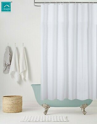 KNIGHT Polyester Shower Curtain Washable Waterproof Extra Strong White  • 4.99£