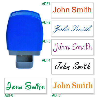 Custom Name Signature Personalised Self Inking Stamp1 Line 31x10mm 6 Fonts 8col • 4.49£