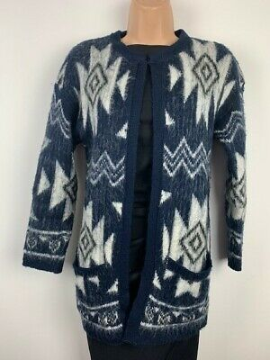 Cardigan Size 8 Or 10 Blue Aztec Chunky Soft Knit Exc Cond • 11.50£