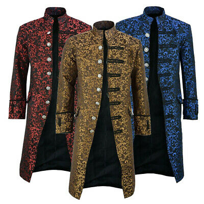 Mens Steampunk Vintage Tailcoat Jacket Gothic Victorian Costume Coat Outwear • 27.82£
