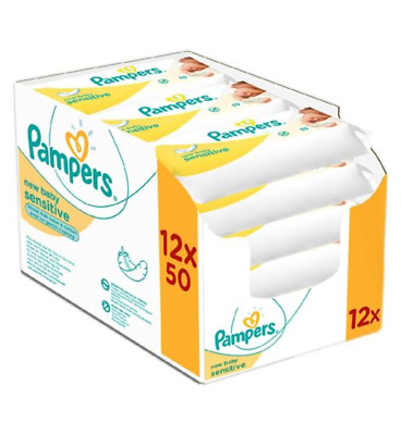 Pampers New Baby Sensitive Baby Wipes 12 Pack=600 Wipes | Cheapest With Multibuy • 20.99£
