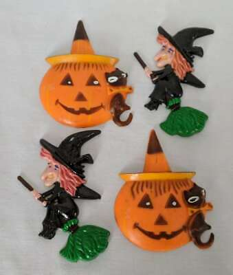 $ CDN11.24 • Buy Vintage Halloween Witches & Jack-O-Lanterns Cake Toppers