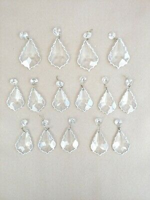 £28.39 • Buy Vintage Chandelier Crystals Replacements Scalloped Pendalogue Lot Of 15