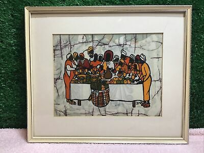 £25 • Buy Painted Fabric Signed The Last Supper Jesus And Twelve Disciples Vintage